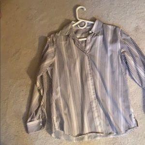Shades of Brown vertical striped women dress shirt